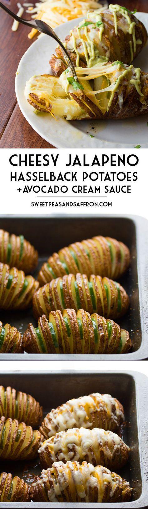 Cheesy Jalapeño Hasselback Potatoes with Avocado Cream Sauce | sweetpeasandsaffron.com @sweetpeasaffron
