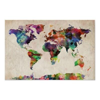 World Map Urban Watercolor Print by iArtPrints
