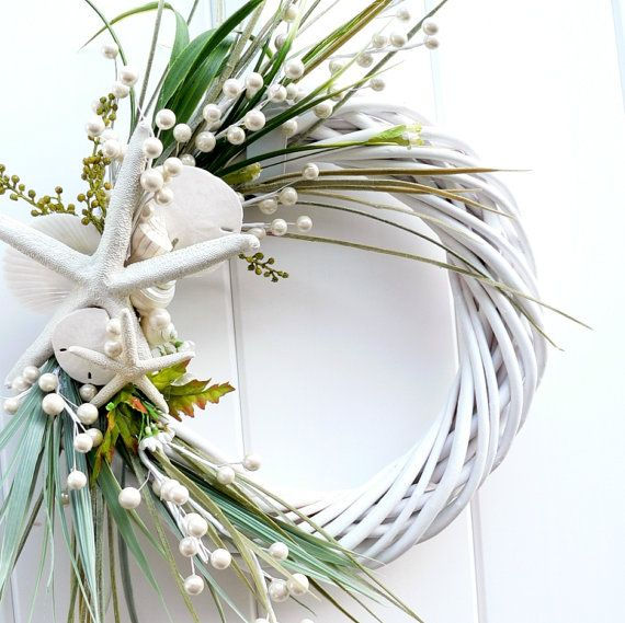 Beach Wreath Classic White by BeachyWreaths on Etsy