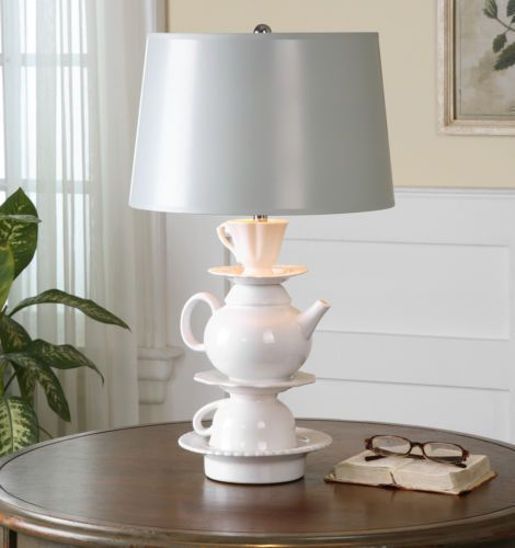 Teapot Ceramic Table Lamp Cottage Chic Tea Cup Light w/ Silver Lampshade New #CountryChic