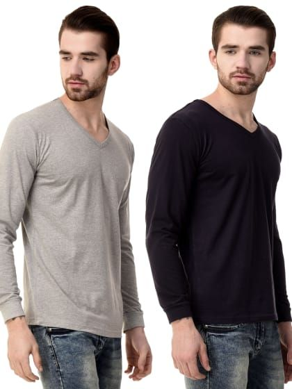 a3aa655e601c Fancy solid v neck GRITSTONES high quality Mens Solid Slim Fit Stylogue  charcoal solid slim fit