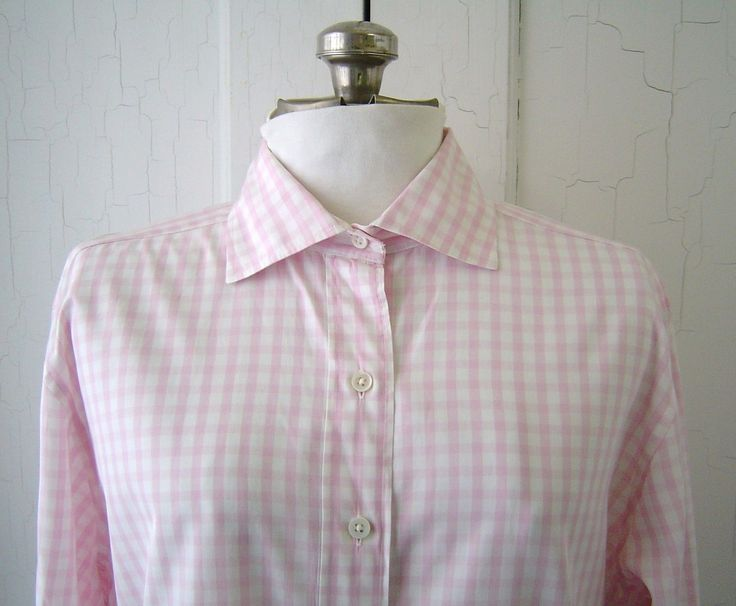 SOLD - Pink and white gingham plaid shirt by F by Faconnable Shirt. Sz XL.