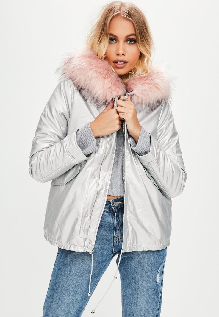 Missguided - Silver Pink Faux Fur Parka Jacket