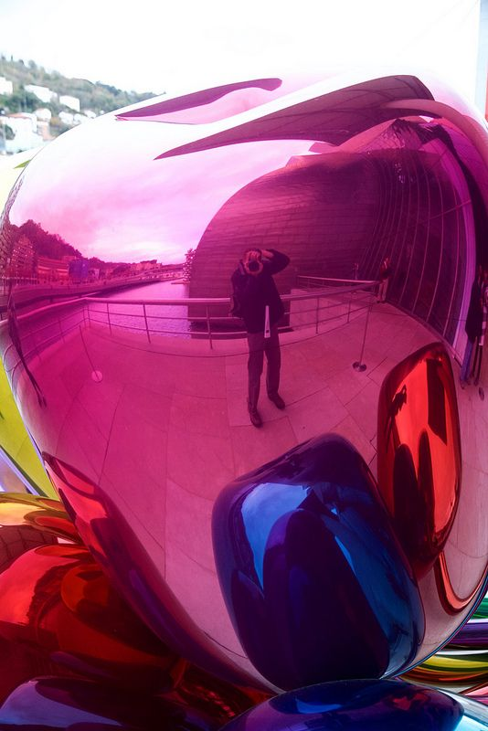 "Bilbao, Spain. November 2014. Guggenheim Museum Bilbao. ""Tulips"" by Jeff Koons."