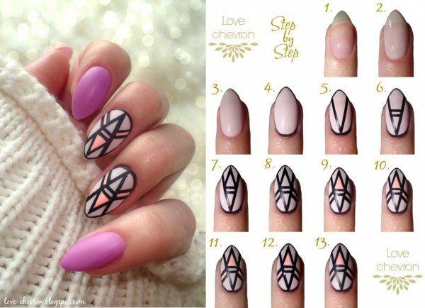 Geometryczne paznokcie hybrydowe krok po kroku ♥♥♥
