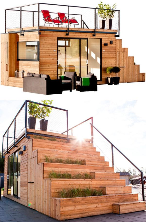 Belatchew Arkitekter designed a tiny, unique prefab house, called Steps, for JABO. The house features a rooftop terrace that's reached via a staircase built into the exterior structure. The small house has everything you need, including an outdoor kitchen that's equipped with a sink. http://design-milk.com/10-modern-prefabs-wed-love-call-home/