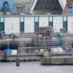 German submarine U 31 at the Thyssen Krupp Marine Systems shipyard in Kiel