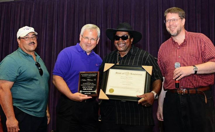 Representative Kenny R. Cox, NSU President Dr. James Henderson, Nathan Williams, Sr., and Dr. Shane Rasmussen.  Mr. Williams was inducted into the Hall of Master Folk Artists — in Natchitoches, Louisiana.