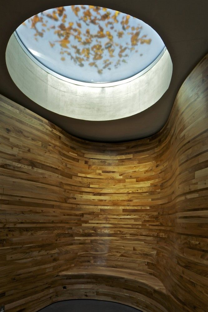 sauna with ceiling window