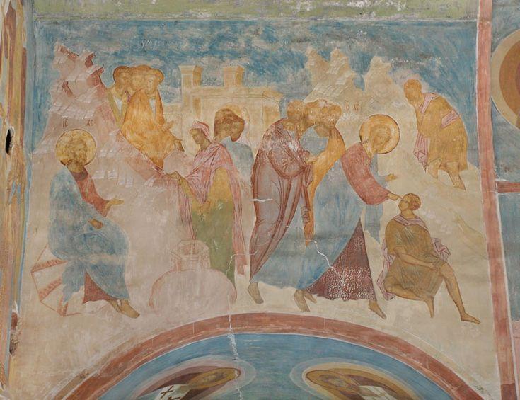 Woman at the Well and Healing of the Man Born Blind. Dionysius. Музей фресок Дионисия - Разрез по центральному поперечному нефу. Вид на восток - Беседа с самарянкой; Исцеление слепорожденного