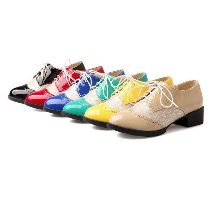 Wingtip Brogues Womens Flat Oxford Lace Up Retro College Candy Mili-Colors  Shoes
