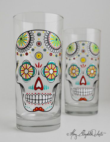Sugar Skull Glasses! Available from Mary Elizabeth Arts