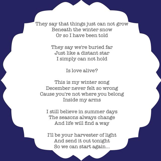 Wintersong by Sara Barellies and Ingrid Michealson. OH MY GOD I LOVE THIS SONG!!!