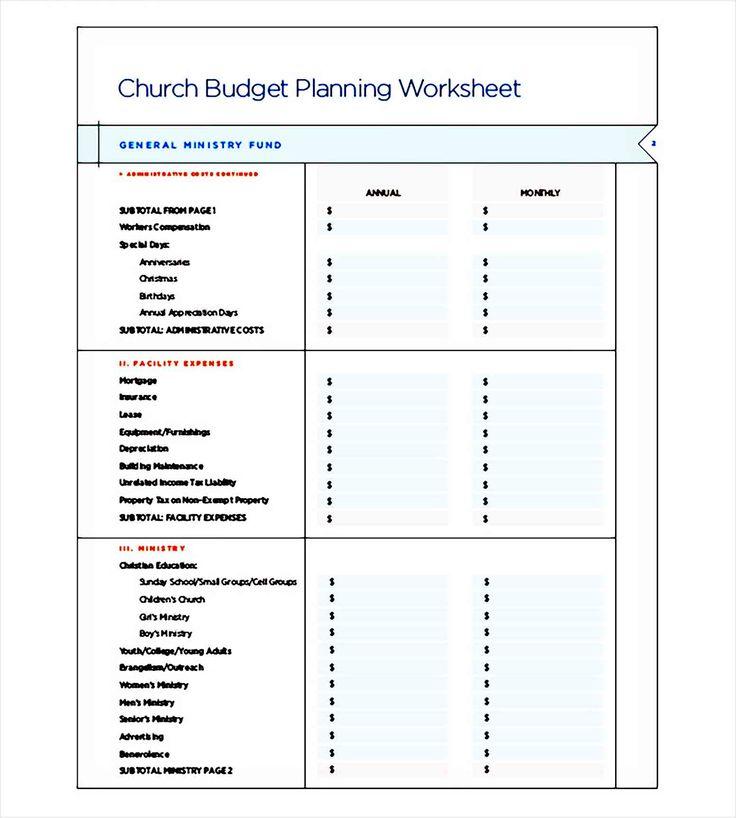 Printable Church Budget