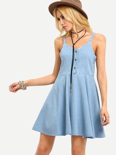 denim dresses, skater dresses, button down dresses - Lyfie