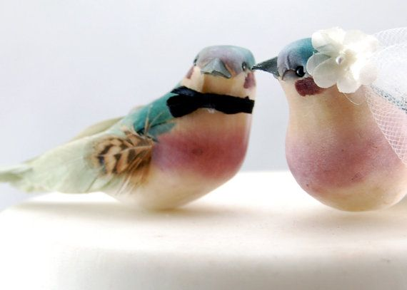 Our Charming Bride & Groom Love Bird wedding cake topper in teal green and orchid purple is perfect for a barnyard wedding, farm wedding, or a rustic