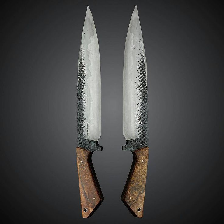 pair of knives... like the transition from the course texture of the metal into smooth blade