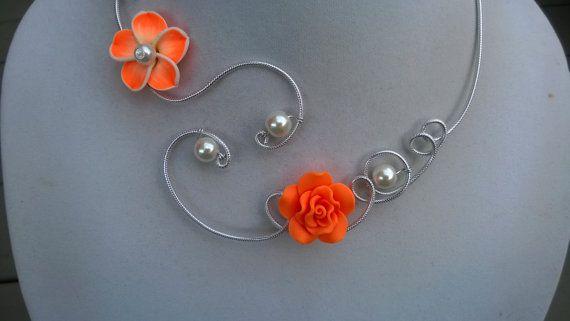 Orange jewelry  Bridemaid jewelry  Aluminium by LesBijouxLibellule