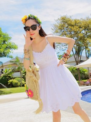 Korea feminine clothing Store [SOIR] White Embroidered String One Piece / Size : FREE / Price : 30.23 USD  #korea #fashion #style #fashionshop #soir #feminine #honeymoonlook #dress