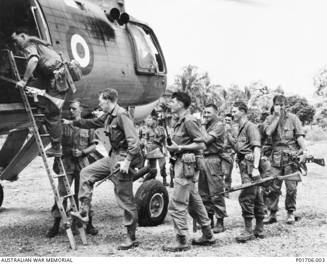 Sarawak, British North Borneo, 1965: soldiers of 3 RAR board a Belvedere helicopter to search for Indonesian infiltrators