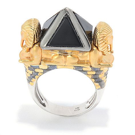 "152-299 - Gems en Vogue Cleopatra ""Pyramid of Khafre & The Great Sphinx"" Onyx Ring"