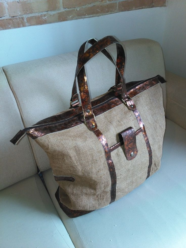 Weekender bag unisex, fabric juta and bronze leather