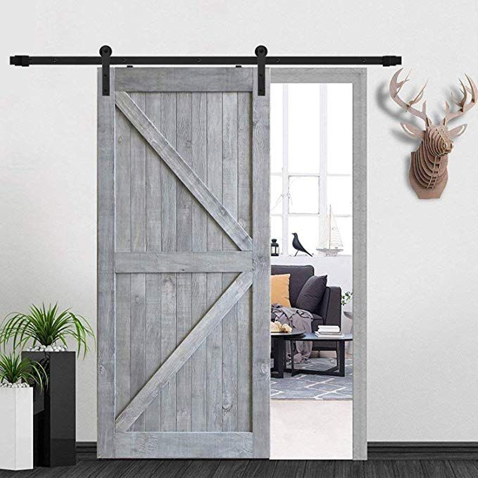 Heavy Duty 12ft 144 Black Steel Single Door Hardware Track Kit With I Shape Hanger Superior Quality Sliding Barn W Barn Door Door Hardware Barn Door Hardware