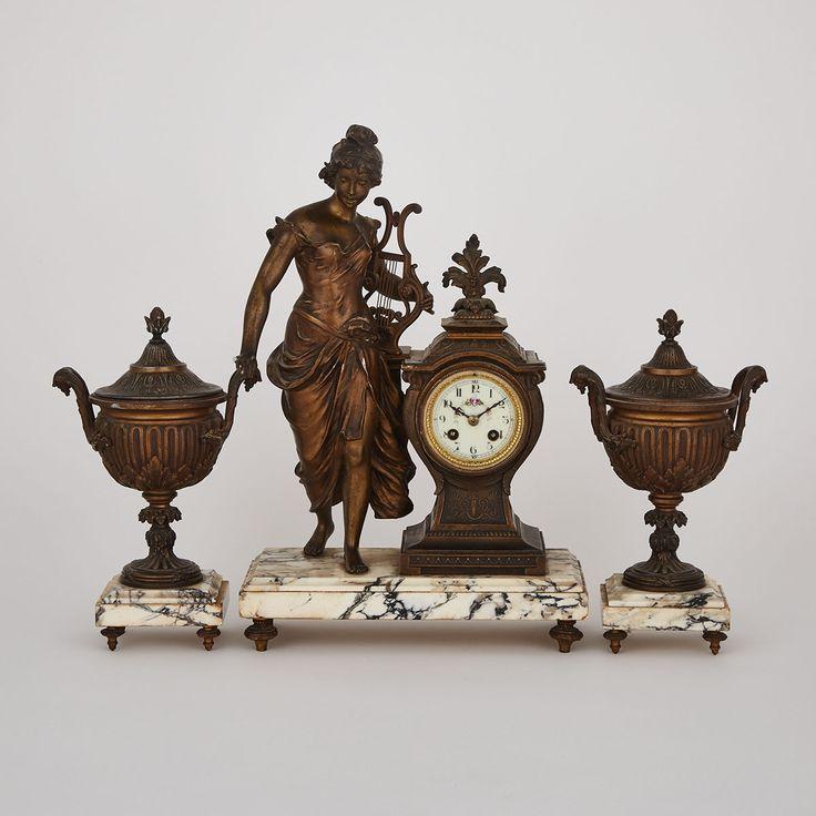 Napoloeon III Three Piece Figural Mantle Clock Garniture