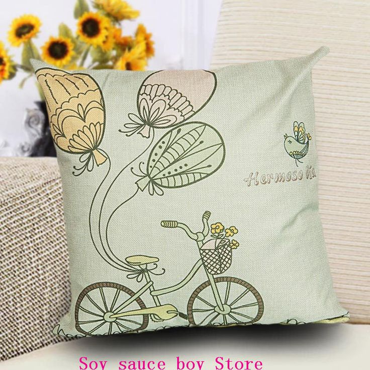 Health christmas Comfortable environment Cartoon bicycle4 Pillow Case for baby Children.