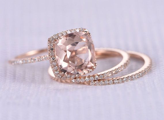 3pcs Wedding Ring Set,Morganite Engagement ring,9mm Big Cushion,14k Rose gold,diamond Matching Band,8-PRONGS,Stack,Personalized for him/her