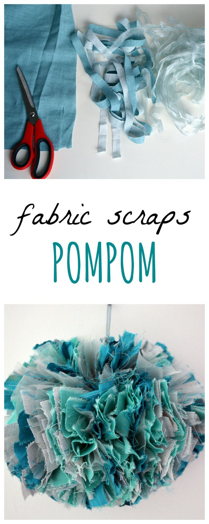 create a large pompom using fabric scraps, DIY pom pom garland