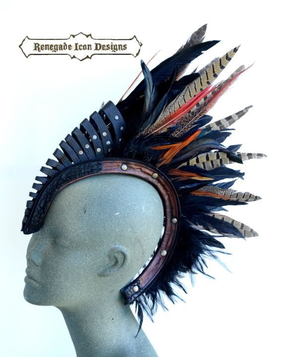 leather feather mohawk, head piece, Leather Feather Head dress, burning man, club wear: Renegade Icon Designs; Rara Avis Collection