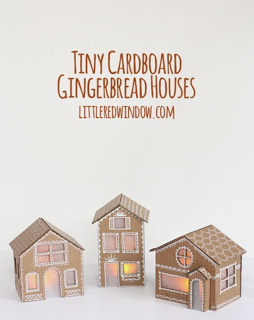Tiny Cardboard Gingerbread Houses |  Make these adorable little Gingerbread Houses out of cardboard, they even light up!