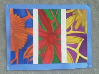 triptych with complimentary colors @ art class with lmj