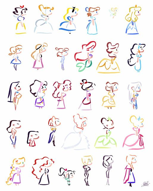 David Gilson: Disney Heroines Simple Lines...these would be adorable on run disney tee shirts...could I diy?!!