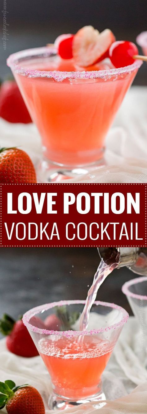 Love Potion Vodka Cocktail   The best drink for Valentine's Day, this love potion cocktail is made with just 3 ingredients and is sure to put you in a lovin' mood.   The 5 oclock Chef   #cocktail #drinks #vodka #love #valentinesday #pink