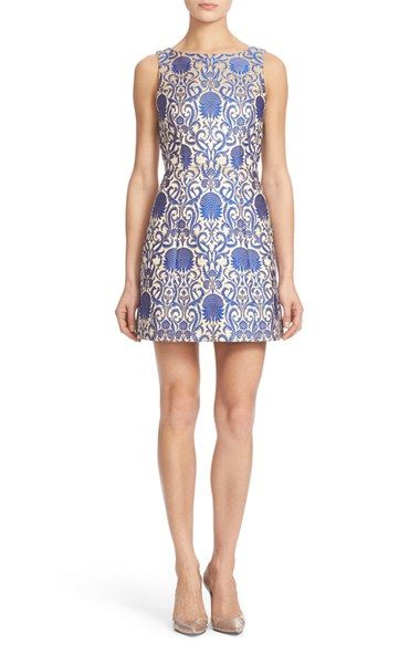 Alice + Olivia 'Carrie' Floral Jacquard Sheath Dress available at #Nordstrom