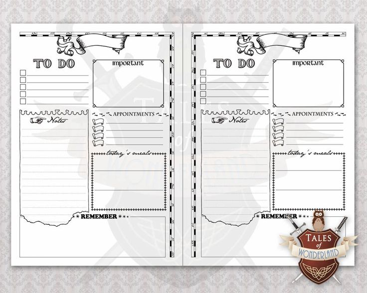 Printable Daily Planner, Planner Inserts | WIZARD'S MAP ...