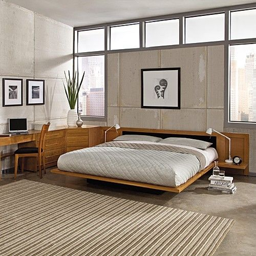 Moduluxe 35 Inch Platform Bed With Leather Headboard