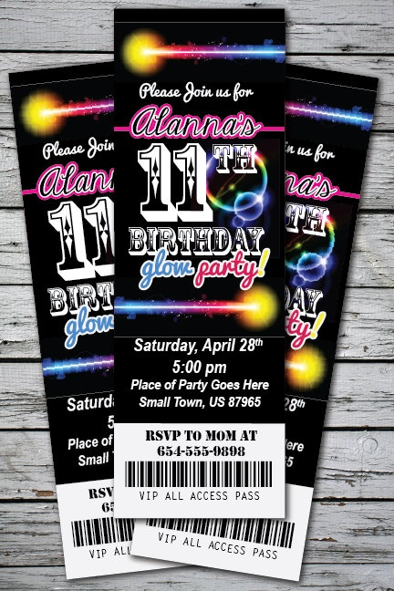 GLOW in the DARK Neon Birthday Party Invitation TICKET Stub Any Age or Color Girl or Boy - You Print