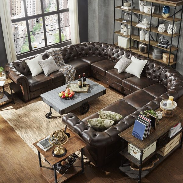 SIGNAL HILLS Knightsbridge Tufted Scroll Arm Chesterfield 11-Seat U-Shaped Sectional
