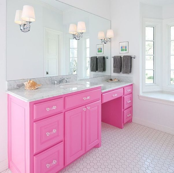This is a good counter set up for girls bathroom. Single sink, but a lot of makeup/get ready space. I don't hate the pink