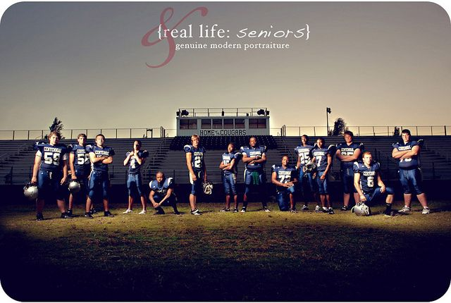 Composite shot of the senior class of CHS Football. www.chrisandadriennescott.com Strobist: AlienBees B1600 into closed down umbrella, moved from person to person between shots, composited in photoshop. 14 images used. Triggered with PWs, powered with a Vagabond II.