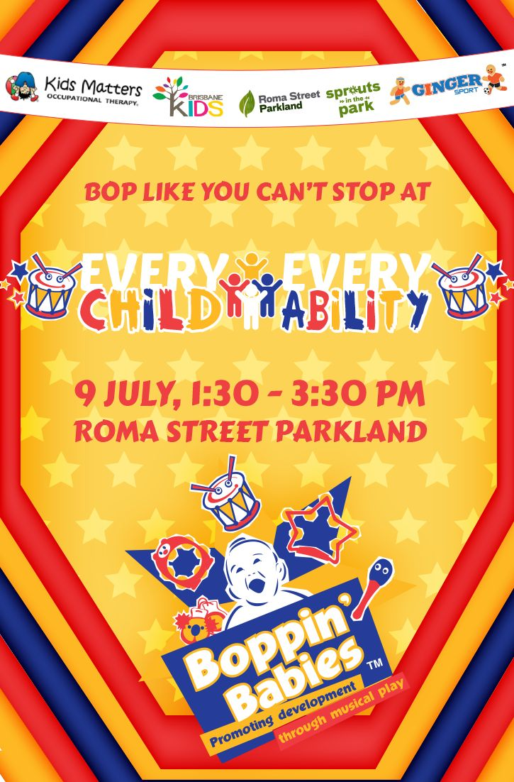 Join us tomorrow at Roma Street Parkland with Ginger Sport for Every Child, Every Ability, kicking off from 1:30pm. Join us and let the kids bang the drums and shake the bells, have a kick about in Ginger Sport's popular Inflatable Soccer World, or chat with the occupational therapists from Kids Matters OT who will also be there. Attendance is absolutely FREE.