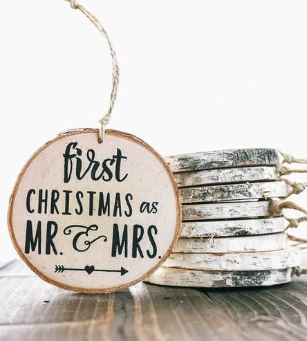 first christmas married wooden ornament