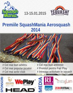 Premiile SquashMania Aerosquash 2014, editia I-a. Premiile SquashMania Aerosquash 2014 se acorda jucatorilor, cluburilor, arbitrilor, antrenorilor de squash din Romania. Sponsori: Aerosquash, HEAD Romania, West Side, WePlay. Parteneri online media: RomaniaLibera.ro, Instaglam.ro, ZeroFotbal.ro, SPORTescu.ro... http://www.squashmania.ro/premiile-squashmania-aerosquash-2014/