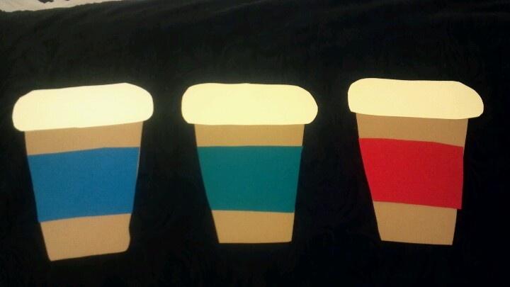 Coffee cup door decs with cotton balls as foam