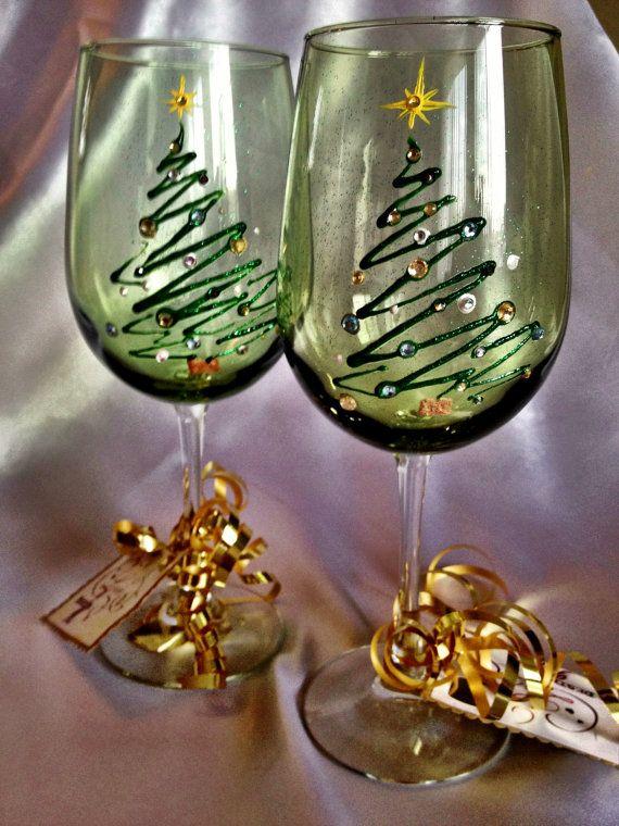 Hand Painted Christmas Tree Wine Glasses