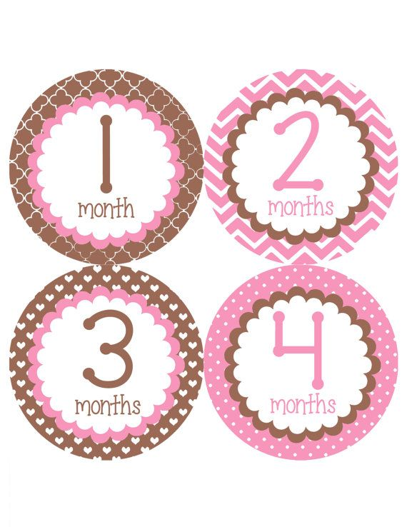 Pretty Brown & Pink Monthly Onesie Stickers  Light by My3LilPeas, $10.00
