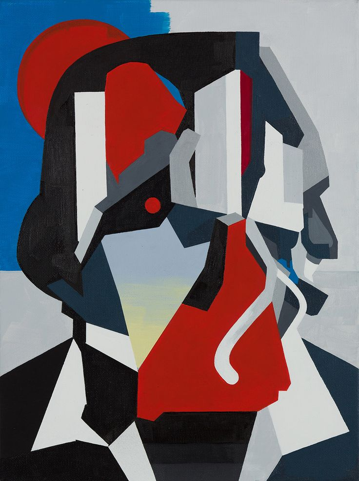 "Tobias Kroeger, ""Fade into Black"" Acrylic on Canvas, 2016, 30x40cm - Cubist, Contemporary, Art, Painting, Geometric, Portrait"